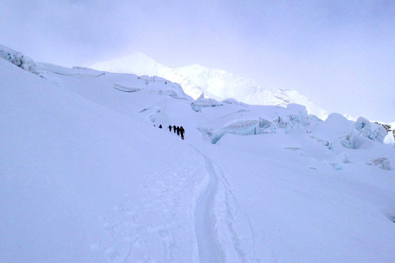 Skitour-Piz-Palü---Aufstieg-durch-die-Spaltenzonen-am-Pers-Gletscher