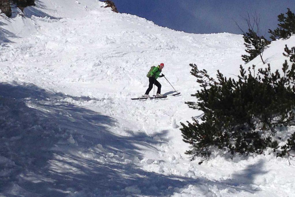 Skitour-für-Einsteiger-im-Spitzingseegebiet---Abfahrt-auf-der-Rotwand-Reib´n
