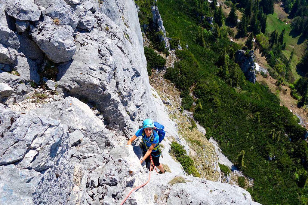 Klettern-an-der-Kampenwand---Südwand
