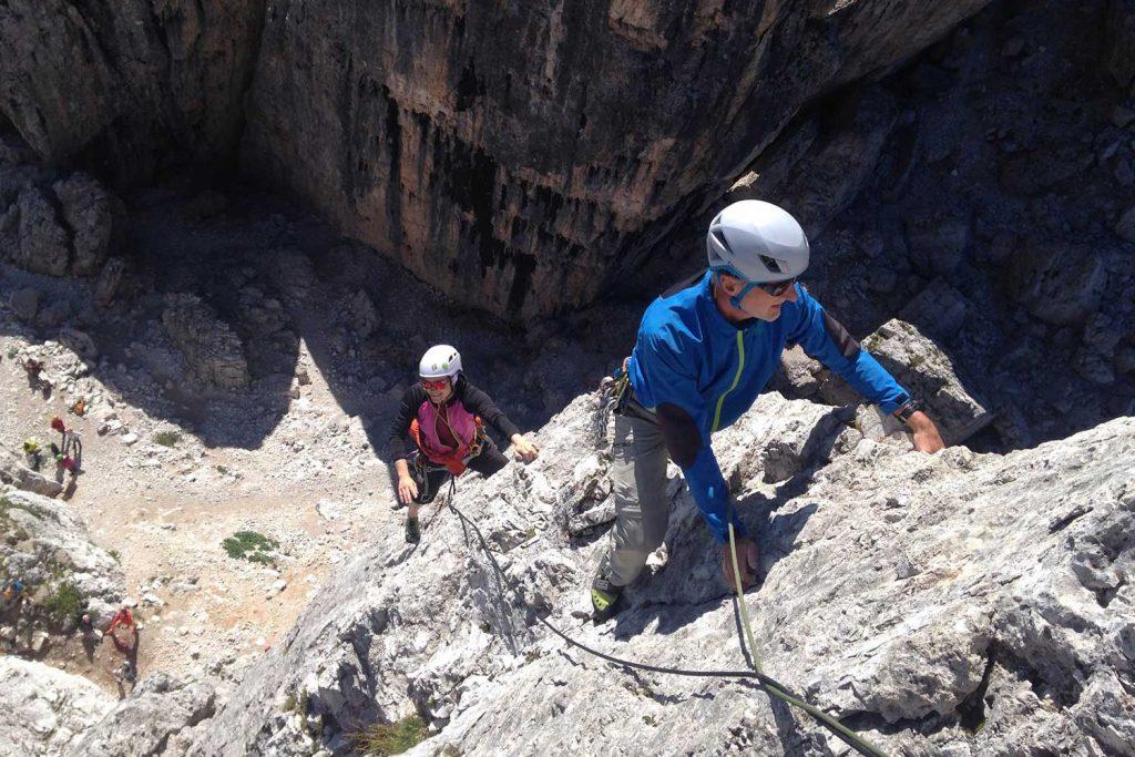 Klettern-in-den-Dolomiten---Torre-Basso