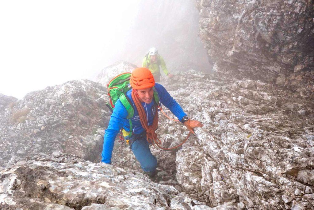 Watzmann-Ostwand---Bergführer-in-den-Ausstiegskaminen