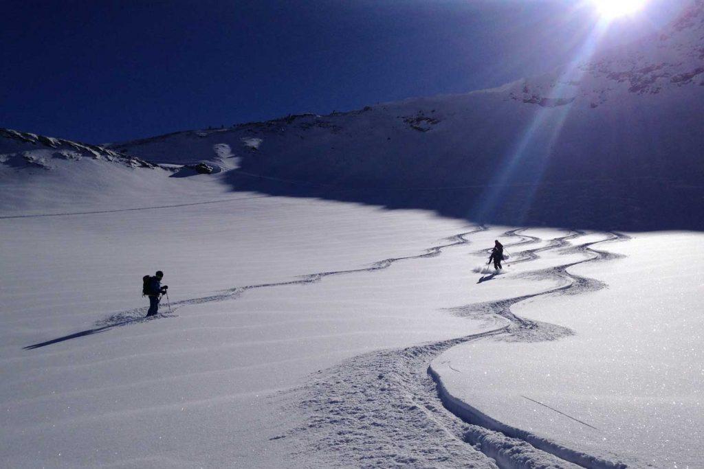 Skitouren-Heidelberger-Hütte---Abfahrt-Piz-Tasna