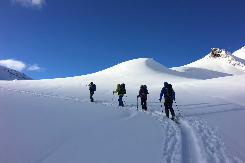 Skitourenkurs-Heidelberger-Hütte---Anstieg-Piz-Tasna
