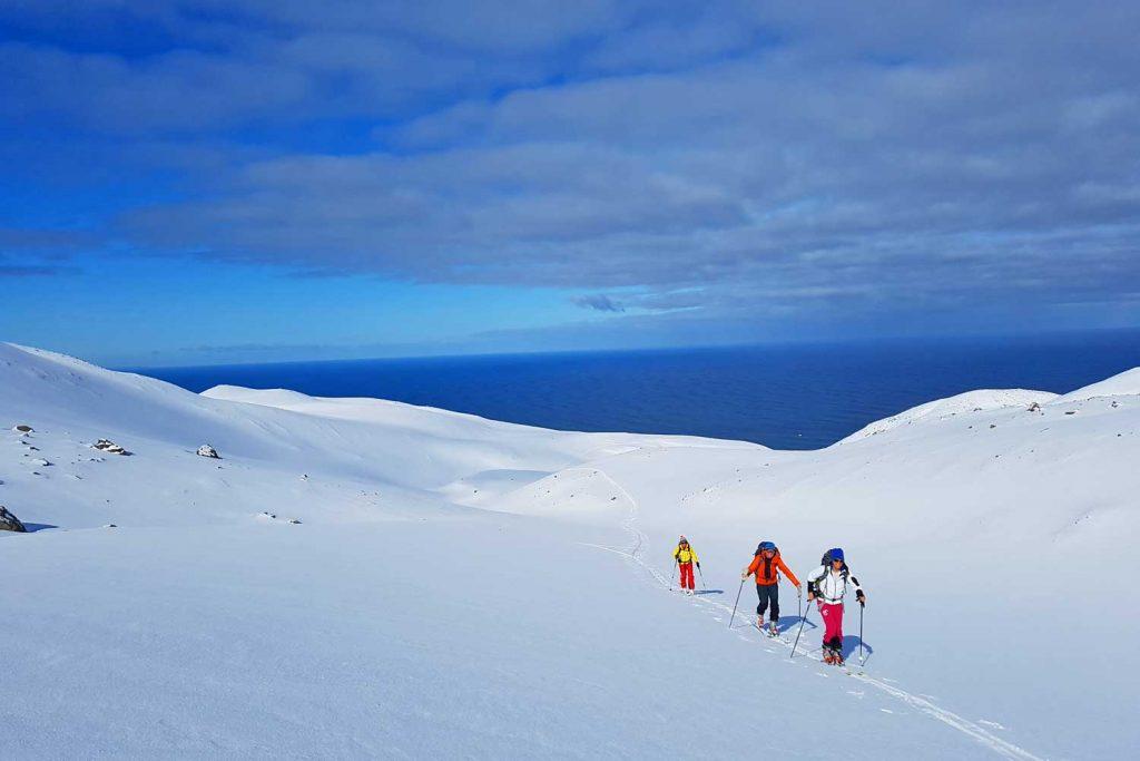 Skitouren-in-Island----Skitourengeher-mit-Blick-zur-Küste