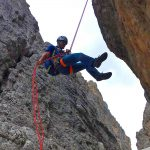 Große-Zinne-Normalweg-mit-Bergführer---Beim-Abseilen