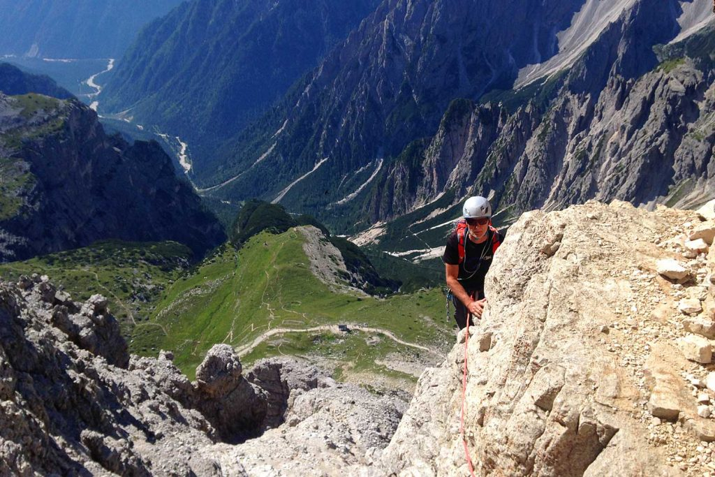 Große-Zinne-Normalweg-mit-Bergführer---Kurz-vor-dem-Band