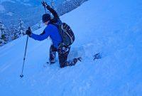 Schneeschuhgehen---Ausfallschritt