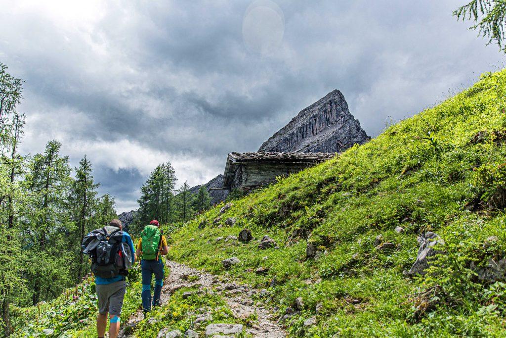 Wanderung----Watzmann-König-der-Berchtesgadener-Am-Weg-Richtung-Hütte